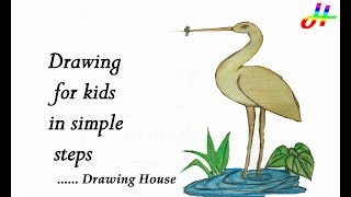 How to draw an Egret /Heron (Bird) step by step