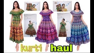 Kurti haul||kurtis try on haul||affordable kurti haul||telugu hauls 2019||