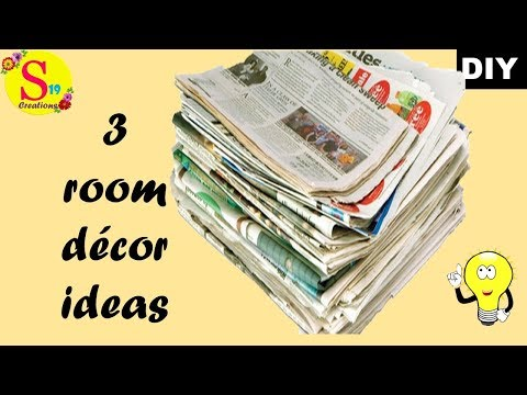 3 diy ideas | super easy newspaper wall hanging | newspaper crafts for home decoration easy