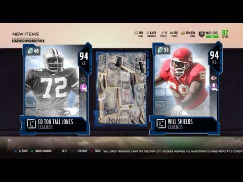 NEW 94 WILL SHIELDS AND 94 TOO TALL! 91+ LEGEND PULL! 250K PULL! MADDEN 18 ULTIMATE TEAM PACKS