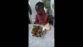 Hungry kid with the best ad best meal