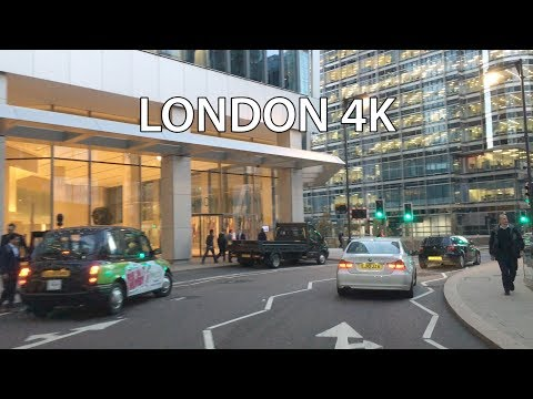 London 4K - Canary Wharf - Driving Downtown - England