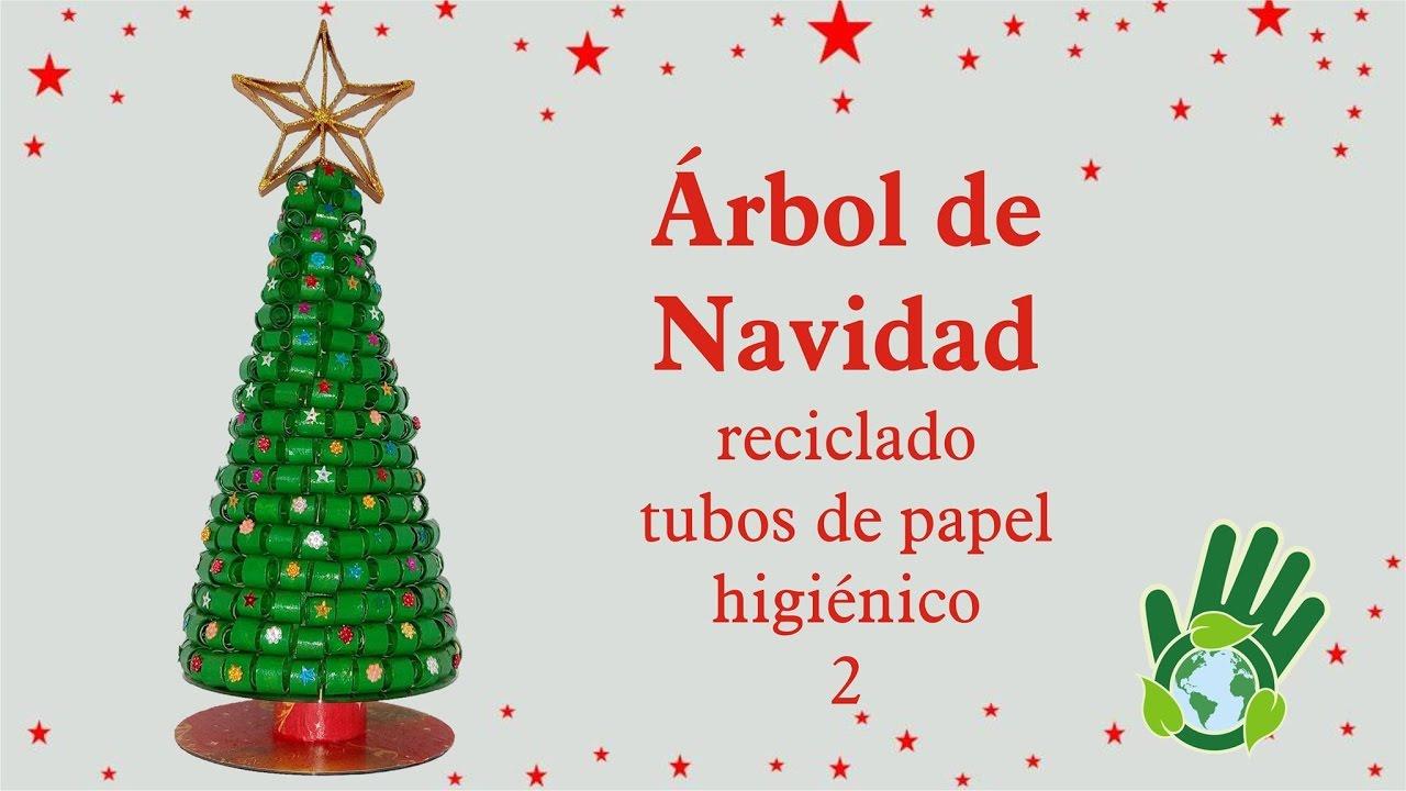 Rbol de navidad reciclando tubos de papel higi nico 2 - Arbol de navidad artesanal ...
