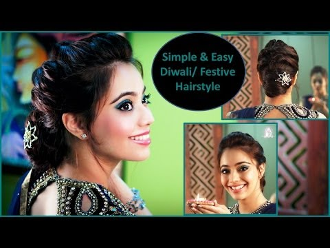 Simple & Easy Diwali/Festive/Party Updo Hairstyle (Hindi)