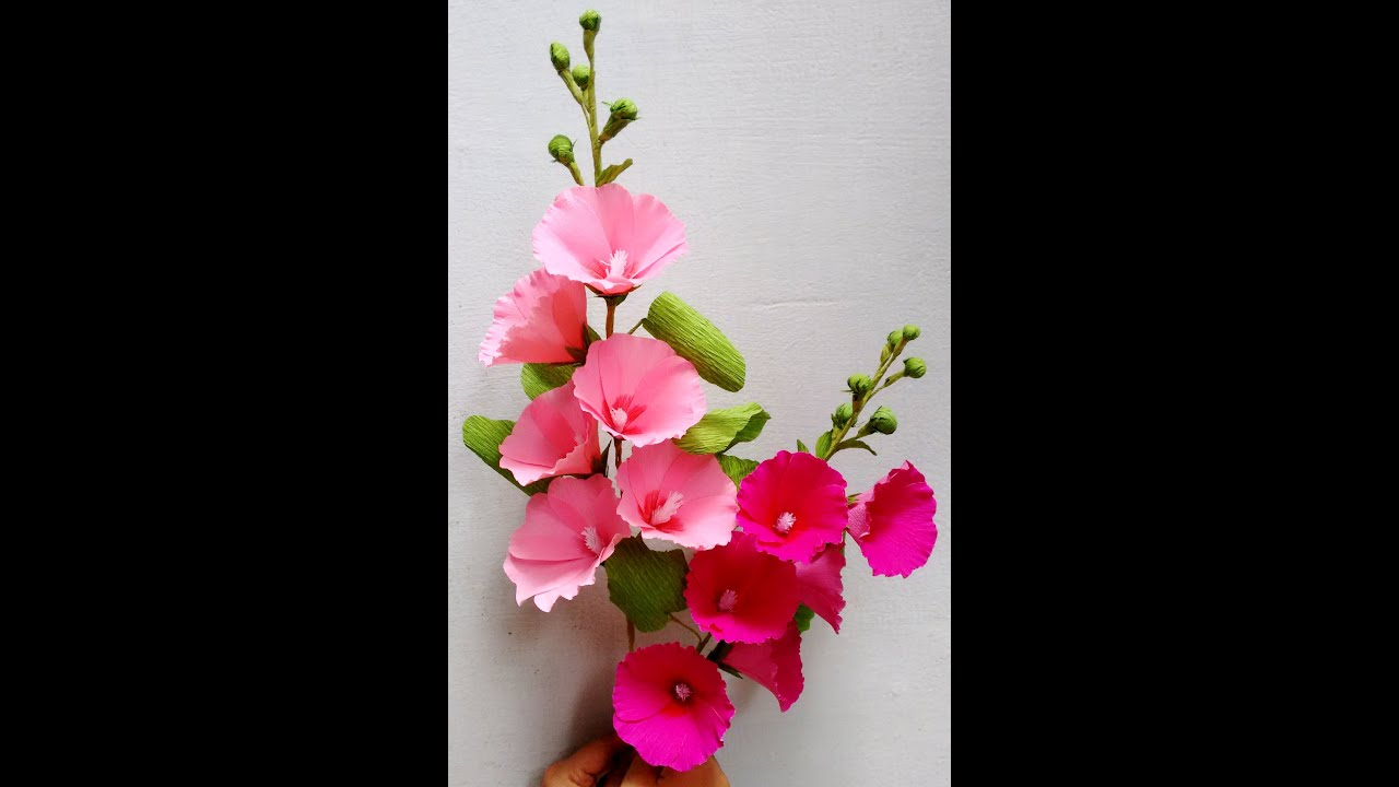 How to make paper flowers hollyhock mallows flower 62 for Flower decoration made of paper