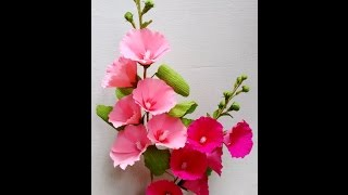 How to make Paper Flowers Hollyhock / Mallows (Flower # 62)