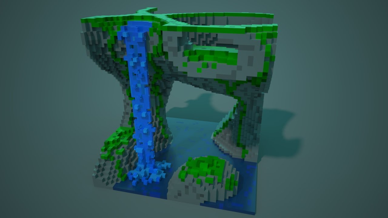 Voxel Modeling with Perlin Noise TimeLapse - MagicaVoxel