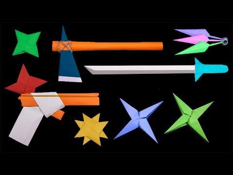 Top 06 Easy Origami Ninja Star/sword/gun - How to make