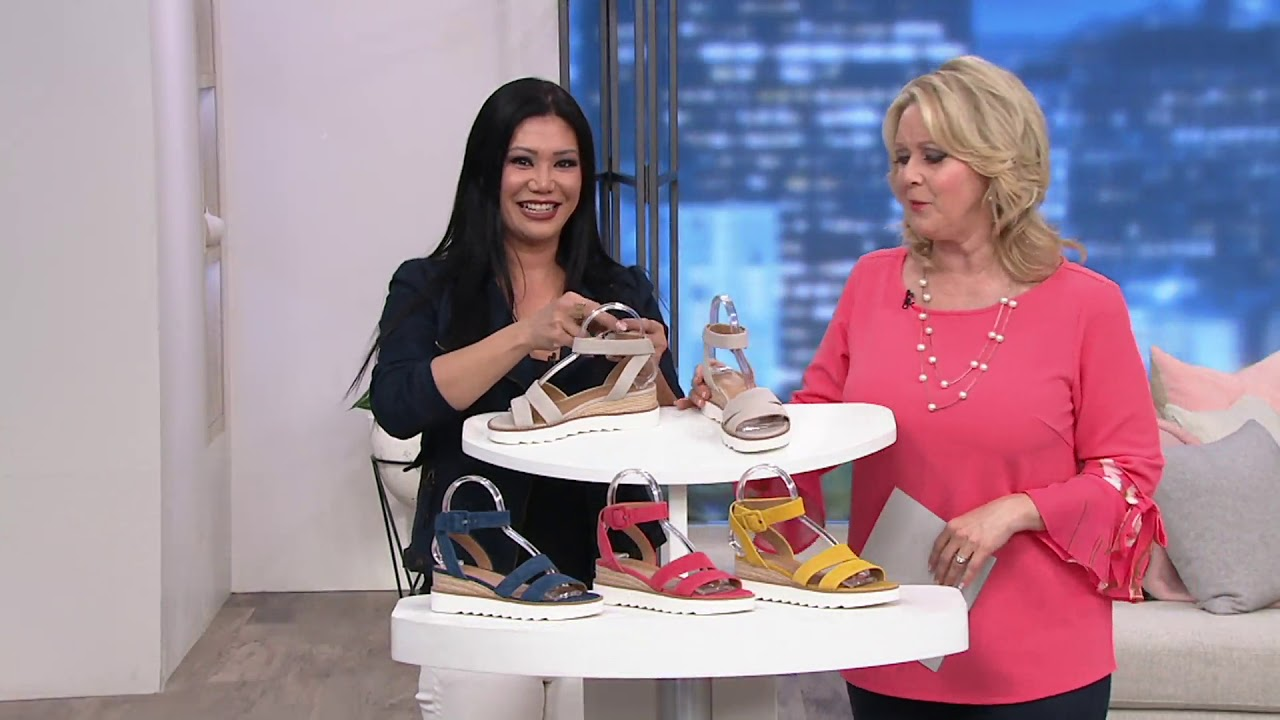 ce84346e5615 Franco Sarto Suede Ankle Strap Wedges - Connolly on QVC - YouTube