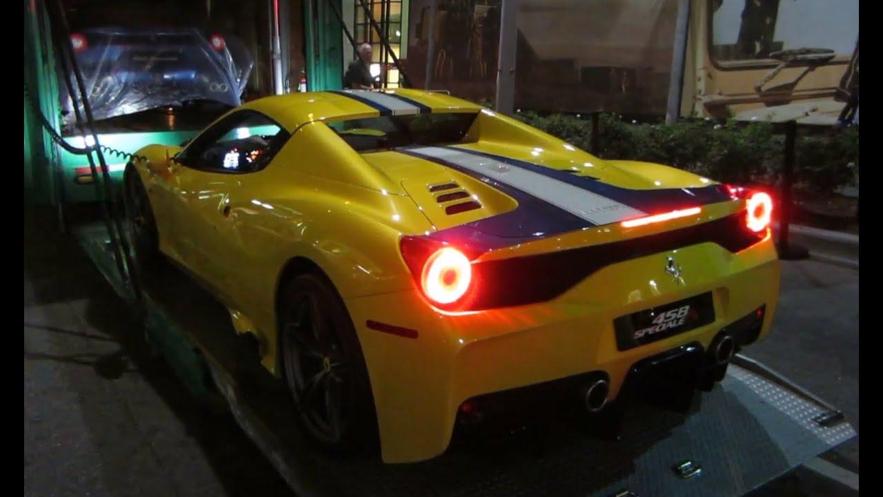 ferrari 458 speciale aperta (startup, driving, roof operation