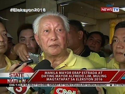 SONA: Manila Mayor Erap Estrada at dating Mayor Alfredo Lim, muling magtatapat sa Eleksyon 2016