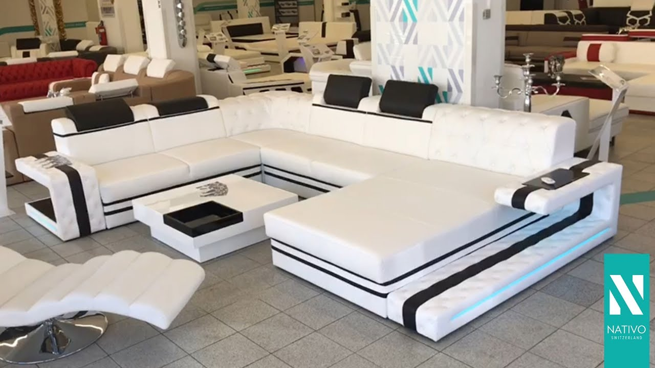 nativo m bel schweiz designer ledersofa imperial xxl u form mit led beleuchtung youtube. Black Bedroom Furniture Sets. Home Design Ideas