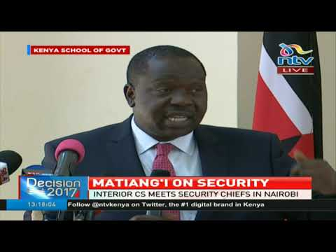 Interior CS meets security chiefs in Nairobi over October 26th Presidential election