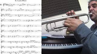 St. Louis Blues - trumpet cover (slow theme tutorial)