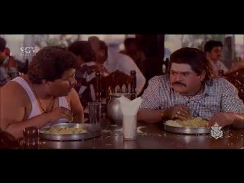 Jaggesh Comedy Scenes - Jaggesh comes to hotel to eat comedy scenes | Bhanda Alla Bhahaddur