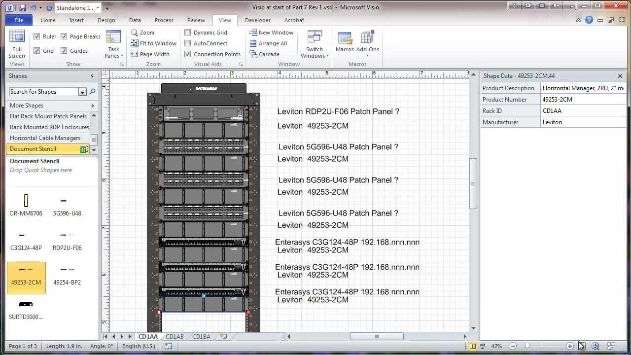 visio 2010 network rack diagram tutorial part 7 adding sheets  : visio rack diagram - findchart.co