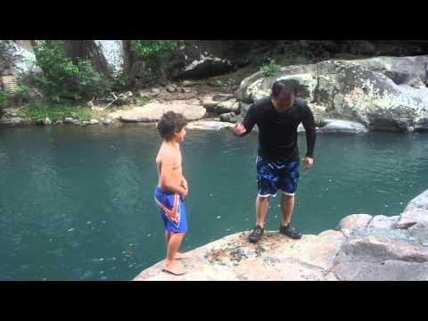 Swimming in Costa Rica river in Liberia