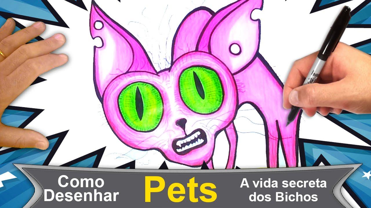 Filme Pets - Gato Rosa - A Vida Secreta dos Bichos - Como Desenhar - #140
