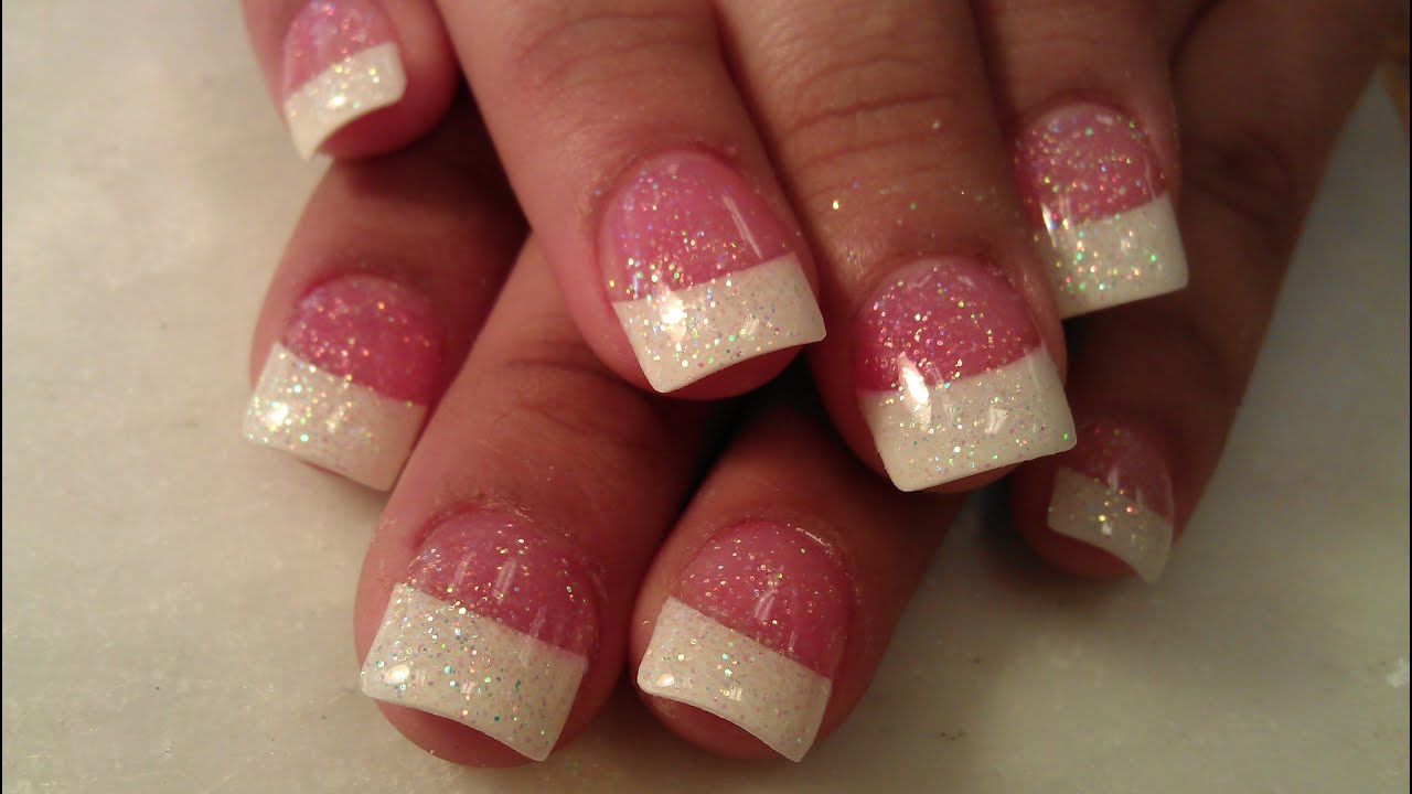HOW TO SPARKLE GLITTER FRENCH TIP NAILS PART 2 - YouTube