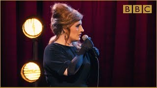 Adele at the BBC: When Adele wasn't Adele... but was Jenny!(How would the real Adele do if she was auditioning as an Adele impersonator? Catch up with Adele at the BBC on BBC iPlayer: http://bbc.in/1MsfGSu., 2015-11-20T21:30:00.000Z)