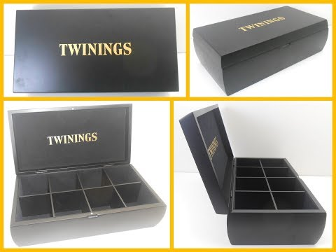 Twinings Black Wooden Tea Box 8 Compartment Tea Display Gift Box