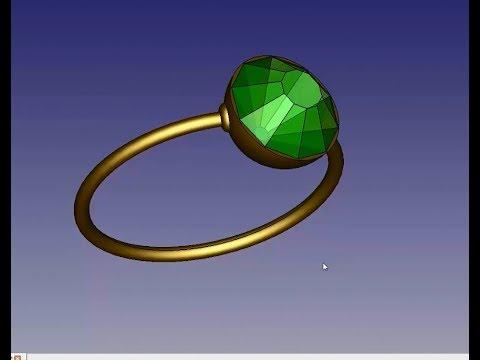 FreeCad Старинный золотой с изумрудом перстень
