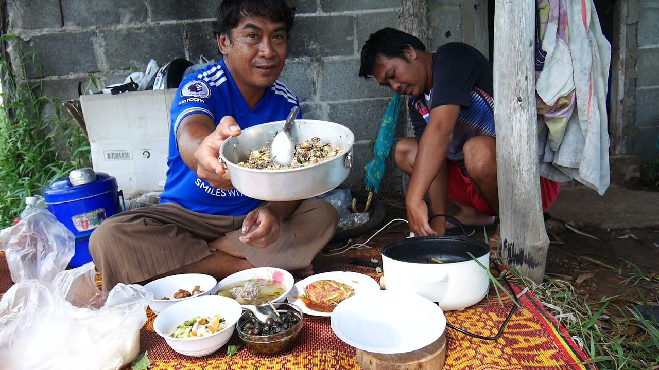 เฮ็ดอ่อมหอยกินกับพี่มอสแบบพื้นบ้านอีสานยุบ้านท่งไฮท่งนาบ้านนอกครับ