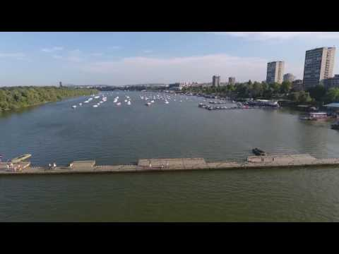 Drone flying over Danube river