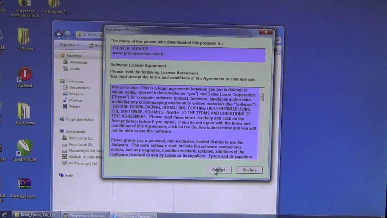 Epson L1300 - Software de Ajuste e Reset Epson / Printer Adjustment  Software and Reset Software (License ID)