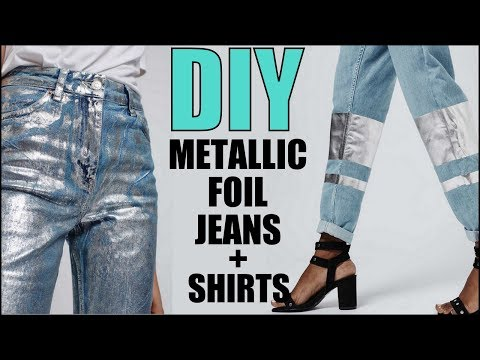 DIY- How To Make METALLIC FOIL T-shirt + Jeans - By Orly Shani - YouTube