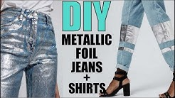 DIY- How To Make METALLIC FOIL T-shirt + Jeans - By Orly Shani
