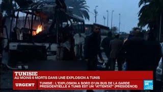 Tunisie : au moins 6 morts dans une explosion contre un bus présidentiel à Tunis