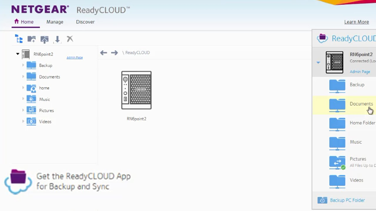 Using NETGEAR ReadyCLOUD PC App, sync files and folders from PC to ReadyNAS