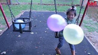 Ishfi Learn Colors with Balloons by Swinging and Sliding Sea Saw with Daddy
