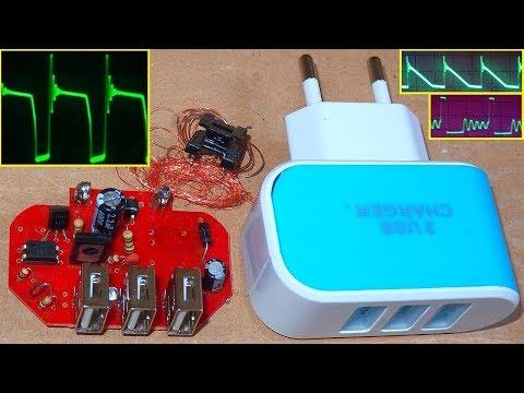 Deadly 3-USB Charger (test, teardown, schematic, oscilloscope measurements)
