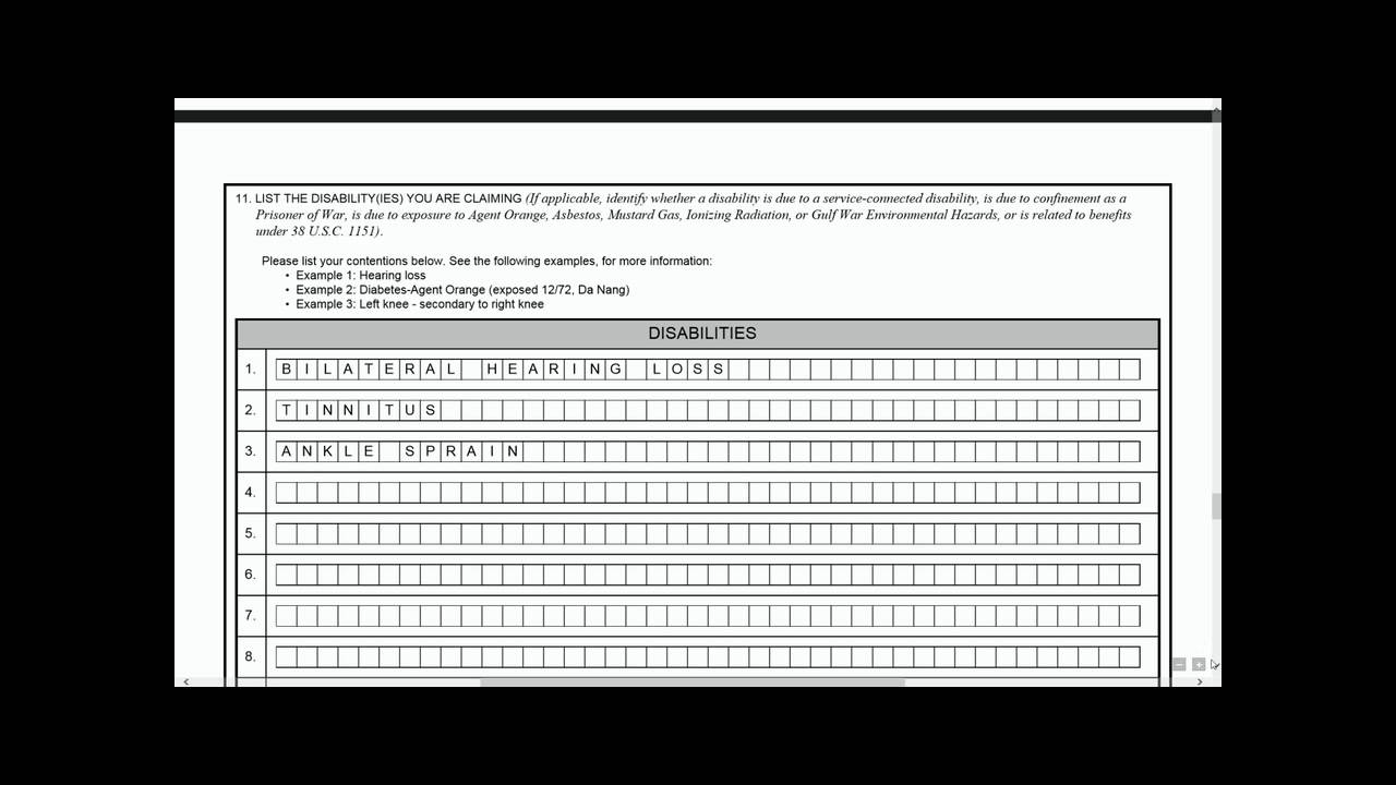 Substantially Completed VA Form 21 526EZ - YouTube