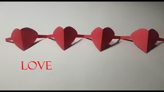 Diy Crafts Paper Heart Chain ! Valentine's Day Origami Heart Chain