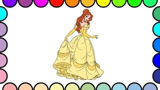 How to Draw and Color Belle Princess #1 - Disney Princess Coloring Pages - Funny Video for Kids