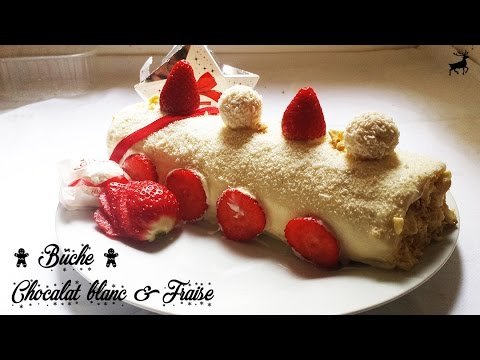dessert-|-bûche-chocolat-blanc-&-fraise
