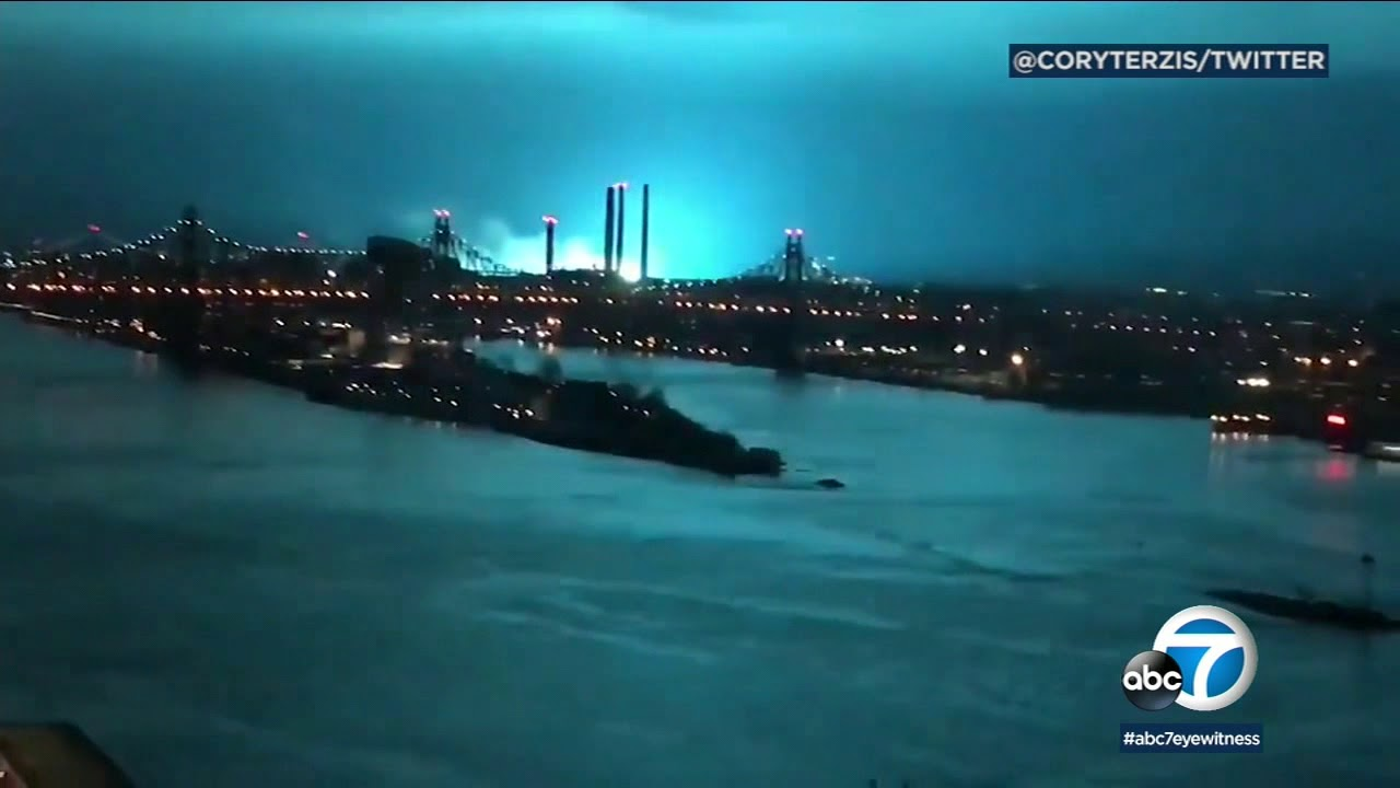 Nyc Skies Lit Up With Blue Light After
