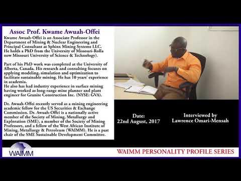 Meet Assoc Prof Kwame Awuah-Offei, Mining & Nuclear Eng dept, Missouri S & T, Missouri - Rolla, USA