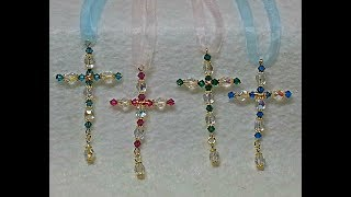 DIY~Make Beautiful And Easy Beaded Cross Ornaments For Christmas!