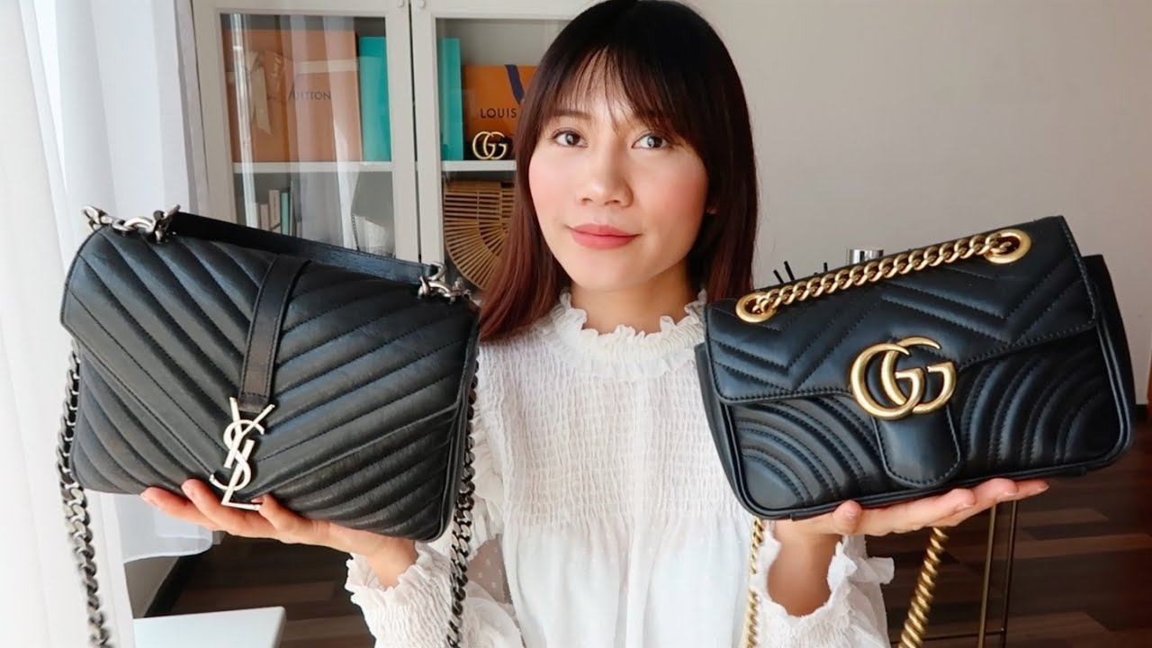 658696c7155a YSL College Bag vs GUCCI GG Marmont Review   comparison 聖羅蘭學院包 ...