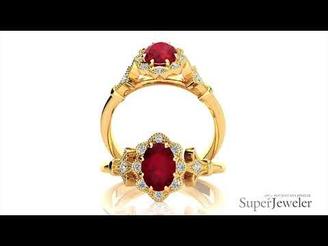 H101756 RU14KY | Oval Shape Ruby and Halo Diamond Vintage Ring