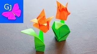 Тюльпан из бумаги — красивый оригами цветок(Оригами тюльпан из цветной бумаги, замечательный бумажный цветок, который можно подарить мамам, бабушкам..., 2014-01-09T14:51:50.000Z)