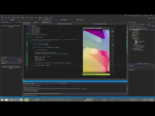 Xamarin Android Tutorial   3   Creating a Simple Listview