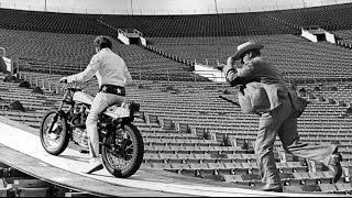 EVEL KNIEVEL crashes practicing for  LA Coliseum jump