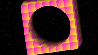 see through hole in cube in outer space 3dfx high definition cartoon animated animation music
