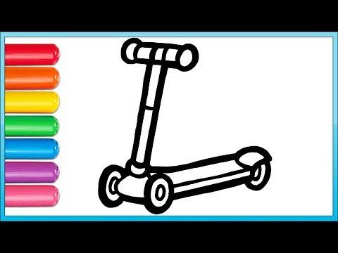 Glitter Toy Scooter Drawing   Coloring Videos, Boyama Videoları, Väritys Video, Tegne Videoer