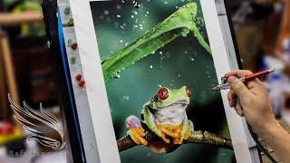 Painting Frog in the Rain - Airbrush Frog / Rafa Fonseca